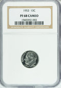 Proof Roosevelt Dimes: , 1953 10C PR68 Cameo NGC. NGC Census: (89/4). PCGS Population (7/0).Numismedia Wsl. Price for NGC/PCGS coin in PR68: $440....