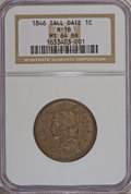 Large Cents, 1846 1C Tall Date MS64 Brown NGC. N-16. PCGS Population (3/0). (#1865). From The Ed Lepordo Collection...