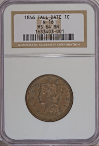 1846 1C Tall Date MS64 Brown NGC. N-16. NGC Census: (0/0). PCGS Population (3/0). (#1865) From The Ed Lepordo Collection...