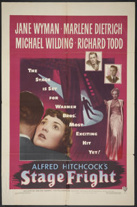 """Stage Fright (Warner Brothers, 1950). One Sheet (27"""" X 41""""). Hitchcock"""