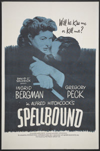 """Spellbound (International Coproductions, R-1960s). One Sheet (27"""" X 41""""). Hitchcock"""