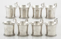 Silver Holloware, American:Cups, A SET OF EIGHT AMERICAN COIN SILVER CUPS. Taylor & Lawrie,Philadelphia, Pennsylvania, circa 1850. Marks: (eagle, thistle,h... (Total: 8 Items)