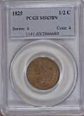 Half Cents: , 1825 1/2 C MS63 Brown PCGS. PCGS Population (16/18). NGC Census:(16/17). Mintage: 63,000. Numismedia Wsl. Price for NGC/PC...