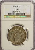 Barber Half Dollars: , 1892-O 50C XF40 NGC. NGC Census: (2/188). PCGS Population (3/200).Mintage: 390,000. Numismedia Wsl. Price for NGC/PCGS coi...
