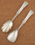 Silver Flatware, American:Tiffany, TWO AMERICAN SILVER AND SILVER GILT SUGAR SHELLS. Tiffany &Co., New York, New York, circa 1872. Marks: TIFFANY & CO.,STE... (Total: 2 Items)