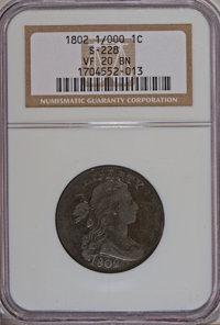 1802 1C 1/000 VF20 NGC. S-228. NGC Census: (0/0). PCGS Population (1/9). Numismedia Wsl. Price for NGC/PCGS coin in VF20...