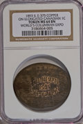 Expositions and Fairs, 1893 Medal IL E-375 Copper on Elongated Canadian 1C, Worlds Columbian Expo MS64 NGC. ...