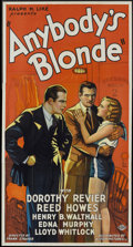 "Movie Posters:Drama, Anybody's Blonde (Action, 1931). Three Sheet (41"" X 81""). Drama....."