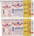 Baseball Collectibles:Tickets, 1951 World Series Game 2 Ticket Stubs Lot of 2....