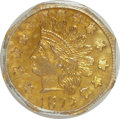California Fractional Gold: , 1872 50C Indian Octagonal 50 Cents, BG-939, Low R.5, MS64 PCGS.PCGS Population (14/1). NGC Census: (1/1). (#10797)...