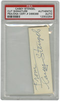 Autographs:Letters, Casey Stengel Cut Signature PSA Authentic. Applied the verso of abusiness card that has been since cut to make the current...