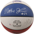 Basketball Collectibles:Balls, Magic Johnson Dual-Signed 1990 All-Star Basketball. Applied to anAll-Star Game Shootout basketball are a pair of signature...