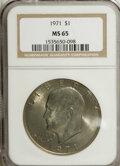 Eisenhower Dollars: , 1971 $1 MS65 NGC. NGC Census: (459/24). PCGS Population (492/34). Mintage: 47,799,000. Numismedia Wsl. Price for NGC/PCGS c...