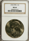 Eisenhower Dollars: , 1976 $1 Type One MS64 NGC. NGC Census: (235/148). PCGS Population (955/433). Mintage: 4,019,000. Numismedia Wsl. Price for ...
