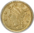 California Fractional Gold: , Undated 25C Liberty Round 25 Cents, BG-221, R.3, MS63 PCGS. PCGSPopulation (53/42). NGC Census: (9/5). (#10406)...