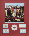 Music Memorabilia:Autographs and Signed Items, Beatles Autographs in Sgt. Pepper Display....