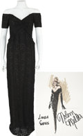 Movie/TV Memorabilia:Costumes, Nolan Miller Designed Black Sequined Gown for Linda Evans....(Total: 2 Items)