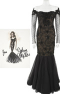 Movie/TV Memorabilia:Costumes, Nolan Miller Designed Black Lace Gown for Joan Collins.... (Total: 2 Items)