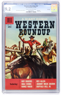Dell Giant Comics - Western Roundup #20 File Copy (Dell, 1957) CGC NM- 9.2 Cream to off-white pages
