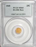 California Fractional Gold, 1868 25C Liberty Round 25 Cents, BG-806, R.3, MS64 PCGS. Ex: Bass.PCGS Population (46/71). NGC Census: (3/14). (#10667)...