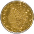 California Fractional Gold: , 1872/1 25C Indian Round 25 Cents, BG-869, Low R.4, MS64 PCGS. PCGSPopulation (41/12). NGC Census: (9/4). (#10730)...
