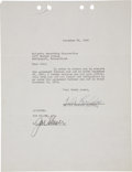 Music Memorabilia:Autographs and Signed Items, Billie Holiday Signed Agreement....