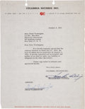 Music Memorabilia:Autographs and Signed Items, Dinah Washington Signed Contract....