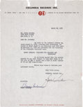 Music Memorabilia:Autographs and Signed Items, Benny Goodman 1951 Signed Agreement....