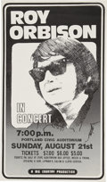 Music Memorabilia:Posters, Roy Orbison Portland Civic Center Concert Poster (Big Country,1977)....