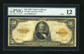 Large Size:Gold Certificates, Fr. 1200a $50 1922 Mule Gold Certificate PMG Fine 12....