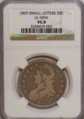 Bust Half Dollars: , 1829 50C Small Letters VG8 NGC. O-109A. NGC Census: (4/898). PCGSPopulation (2/964). Mintage: 3,712,156. Numismedia Wsl. ...