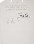 Music Memorabilia:Autographs and Signed Items, Duke Ellington 1972 Signed Contract....
