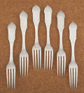 Silver Flatware, American:Other , A SET OF SIX AMERICAN COIN SILVER DINNER FORKS. William Gale & Son, New York, New York, 1862. Marks: W. G. & S, G & S (... (Total: 6 Items)