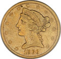 Liberty Half Eagles, 1866-S $5 No Motto VF30 PCGS....