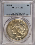 Peace Dollars: , 1925-S $1 AU50 PCGS. PCGS Population (44/5088). NGC Census:(57/3790). Mintage: 1,610,000. Numismedia Wsl. Price for NGC/PC...