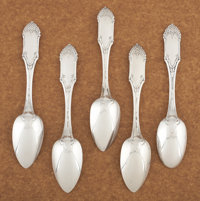 AN SET OF FIVE AMERICAN COIN SILVER DESSERT SPOONS William Gale & Son, New York, New York, circa 1847 Marks: