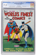 Golden Age (1938-1955):Superhero, World's Finest Comics #3 (DC, 1941) CGC VF- 7.5 Off-white pages....