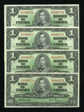 Canadian Currency: , BC-21c $1 1937 Four Consecutive Examples.. ... (Total: 4 notes)
