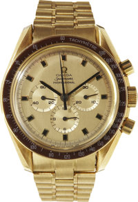John Young's Personal 18K Gold Omega Speedmaster Professional Chronograph as Presented to Him in 1969 by the Omega Watch...