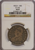 Bust Half Dollars: , 1822/1 50C VG8 NGC. O-102. NGC Census: (1/80). PCGS Population(0/66). Numismedia Wsl. Price for NGC/PCGS coin in VG8 : $...