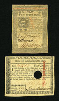 Colonial Notes:Mixed Colonies, Massachusetts May 5, 1780 $4 About New, HC. Pennsylvania October 1,1773 10s XF.. ... (Total: 2 notes)