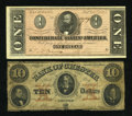 Confederate Notes:Group Lots, One Confederate and One South Carolina Note.. ... (Total: 2 notes)