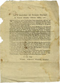 "Miscellaneous:Ephemera, [Henry Ward] Rhode Island Revolutionary War Broadside. One page,6.5"" x 8.75"", Providence Plantations, February 1782. Issued..."