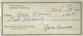 "Autographs:Authors, Jack Kerouac Thrice Signed Check. One page, 6.25"" x 2.75"", January16, 1959, for $100 drawn on the Security National Bank of..."