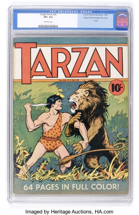 Single Series #20 Tarzan - Edgar Rice Burroughs File Copy (United Features Syndicate, 1940) CGC VF+ 8.5 Off-white pages....