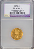 Three Dollar Gold Pieces: , 1878 $3 --Improperly Cleaned--AU50 NCS. AU Details. NGC Census: (51/4599). PCGS Population (183/4756). Mintage: 82,304. ...