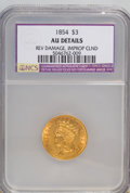 Three Dollar Gold Pieces, 1854 $3 --Improperly Cleaned,Reverse Damage--AU50 NCS. AU Details. NGC Census: (142/2790). PCGS Population (272/1801). M...
