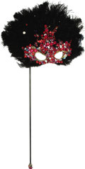 Movie/TV Memorabilia:Costumes, Nolan Miller Masquerade Mask in Black Feathers with Sequins andLarge Red Jewels on Handle. ...