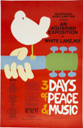 Music Memorabilia:Posters, Woodstock Music And Art Fair Original Poster Signed By Artist(1969). ...