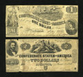Confederate Notes:1862 Issues, T42 $2 1862 VG-Fine. T44 $1 1862 Fine.. ... (Total: 2 notes)